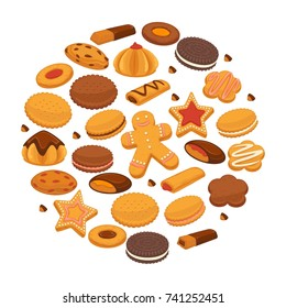 Bakery cookies and patisserie biscuits biscuits pastry chocolate desserts vector poster