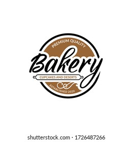bakery ,cupcakes and deserts vintage style logo design set template