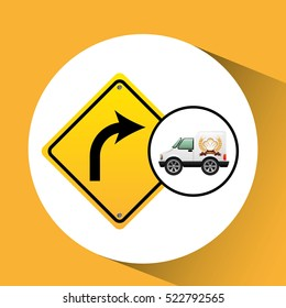 bakery delivery truck with left turn road vector illustration eps 10