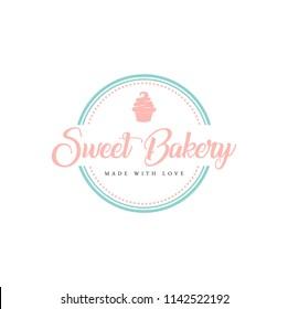 Bakery and Dessert Logo, Sign, Template, Emblem, Flat Vector Design