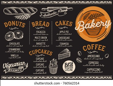 Bakery dessert menu for restaurant and cafe. Design template with food hand-drawn graphic illustrations.