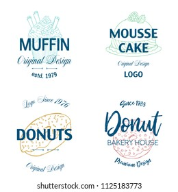 Bakery desserts and cakes icons for pastry or patisserie menu template. Chocolate biscuits, ice cream and muffins, pudding and torte pies, cheesecake, cookies, french macaroons, mousse cake, croissant