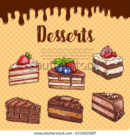 Bakery Desserts And Cakes Vector Sketch Poster Pastry Sweet Cheesecake Biscuit Chocolate Brownie Torte