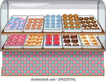 Bakery display stand with cake and sweet on white background illustration