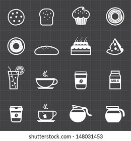 Bakery and drink icons set black background