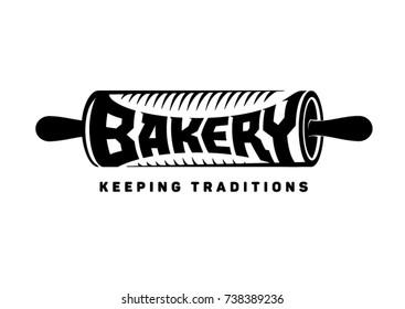 bakery emblem. rolling pin