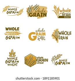Bakery emblems or labels with spikelets and inscriptions. Isolated badges of whole grain wheat products, healthy lifestyle and ingredients for improving health dieting balance. Vector in flat style