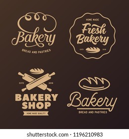 Bakery emblems set. Cooking related lettering inscriptions. Modern typography logotype templates. Vector vintage illustration.
