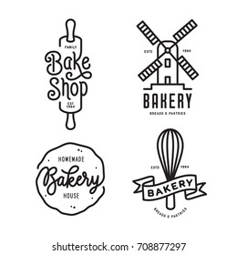 Bakery emblems set. Handmade lettering inscriptions. Line art typography logotype templates. Vector vintage illustration.