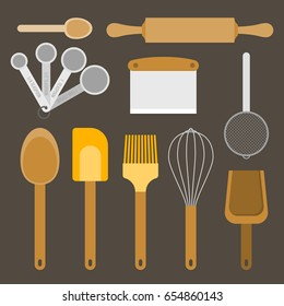 bakery equipment and utensils, such as measurement spoon, whisk, flour sifter, spatula, rolling pin, dough and bowl scraper, wooden spoon, flat design vector
