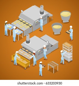 Bakery Factory. Interior of Baking Production. Isometric vector flat 3d illustration
