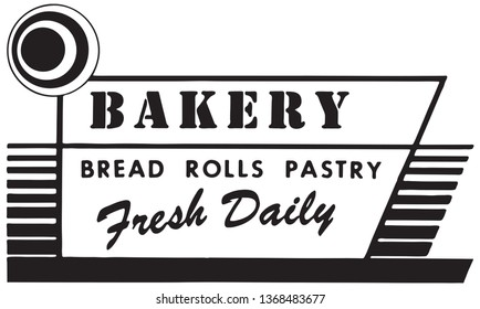Bakery Fresh Daily - Retro Ad Art Banner