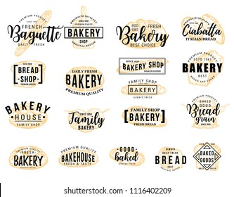 Bakery hand drawn lettering icon set with wheat food sketch. Bread loaf, baguette and croissant, toast, sweet bun and ciabatta isolated symbol for Bakery signboard or Bread Shop label design