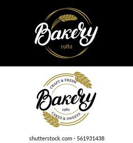 Bakery hand written lettering logo, label, badge, emblem. Vintage style. Golden wheat. Isolated on black background. Vector illustration