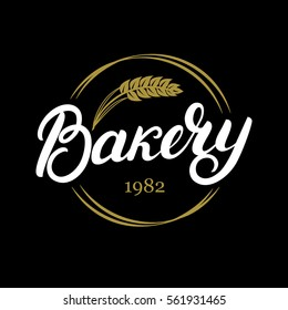 Bakery hand written lettering logo, label, badge, emblem. Vintage style. Golden wheat. Isolated on black background. Vector illustration