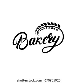 Bakery hand written lettering logo, label, badge, emblem. Vintage retro style. Ear of wheat. Isolated on background. Vector illustration.