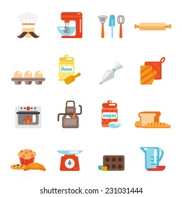 Bakery icon flat set with bread cakes flour pastry isolated vector illustration