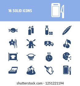 Bakery icon set and flour with half eaten cookie, colander, bakery packaging. Eating related bakery icon vector for web UI logo design.