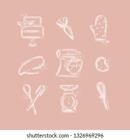 Bakery icon set with illustrated pastry bag, cake, mitts, cook cap, kneading machine, cookies, pastry equipment, scales, whisk in hand drawing style on pink background