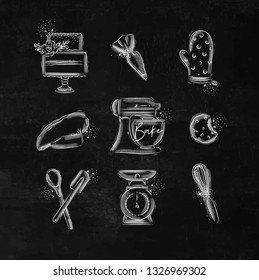 Bakery icon set with illustrated pastry bag, cake, mitts, cook cap, kneading machine, cookies, pastry equipment, scales, whisk in hand drawing style on chalk background