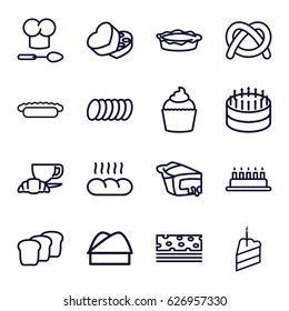 Bakery icons set. set of 16 bakery outline icons such as coffee and croissant, pie, muffin, sweet box, piece of cake, chef hat, cookie, bread, chef hat and spoon, cake