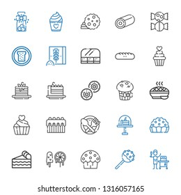bakery icons set. Collection of bakery with food and restaurant, cake pop, cup cake, sweets, piece of cake, pie, food, cupcake, muffin. Editable and scalable bakery icons.