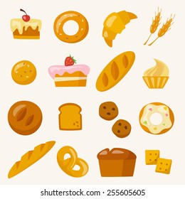 Bakery icons set in flat style