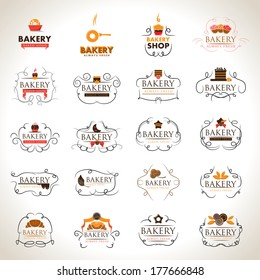 Bakery Icons Set - Isolated On Gray Background - Vector Illustration, Graphic Design Editable For Your Design.