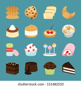 Bakery icons, vector