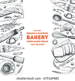 Bakery illustration. Vintage card with bread, toast, buns and croissant. Engraved style vector illustration.