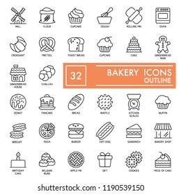 Bakery with inscription line icon set, bread symbols collection, vector sketches, logo illustrations, food signs linear pictograms package isolated on white background, eps 10