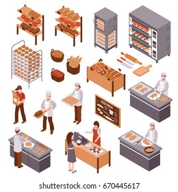 Bakery isometric icons set of working bakers shelves with products buyers and seller of fresh bread behind counter vector illustration