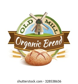 Bakery label with windmill and organic bread text vector illustration