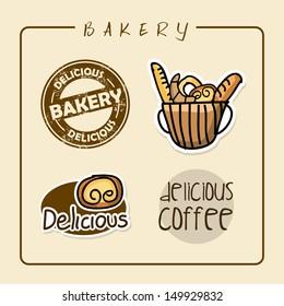 bakery labels over pink background vector illustration