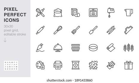 Das Symbol für die Bäckerei wird gesetzt. Backwerkzeug - Süßigkeitsbeutel, Teigrolle, Kuchendekoration, Backwaren Zutat minimale Vektorgrafik. Einfaches Umrisszeichen des Kochens. 30x30 Pixel perfekt, bearbeitbarer Stroke.