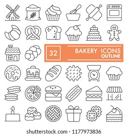 Bakery line icon set, bread symbols collection, vector sketches, logo illustrations, food signs linear pictograms package isolated on white background, eps 10