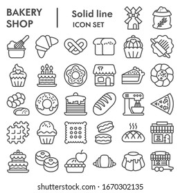 Bakery line icon set. Bakery shop signs collection, sketches, logo illustrations, web symbols, outline style pictograms package isolated on white background. Vector graphics