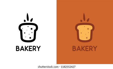 Bakery Logo with Bread in creative minimalistic style. Black and Colored emblem with caption. Vector illustration for Bakery Shop.