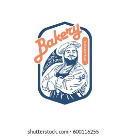 bakery logo. chef man smile pose with hat