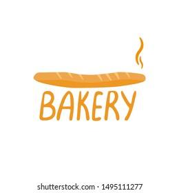 Bakery logo design vector illustration. Fresh and hot baguette.