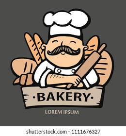 Bakery logo. Hand drawn vector illustration of chef-cooker with a mustache and bread. chef logo.