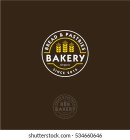 Bakery logo. Lettering and spike lets in a circular badge.