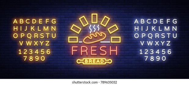Bakery logo is a neon sign. Vector illustration on the topic of fresh pastries. Neon symbol, bright billboard, night shining advertisement Bakery. Editing text neon sign. Neon alphabet