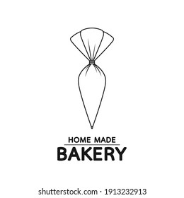 Bakery logo. Piping Cream Cake logo design. Silicone Piping Cream Cake doodle symbol.