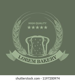 Bakery logo with sliced fresh bread, wheat, ribbon and stars. Sketch line art style Vector Illustration.