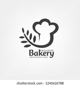 Bakery logo template in chef hat concept