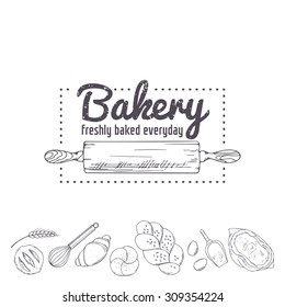 Bakery logo template. Hand drawn rolling pin and baking for your design in vector. Sketched illustration