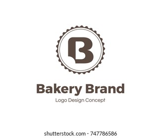 Bakery logo template. Letter B. Bite mark. Universal icon. Bakery shop sign. Design template for labels, badges, banners, posters, menu, identity and branding elements. Vector illustration.