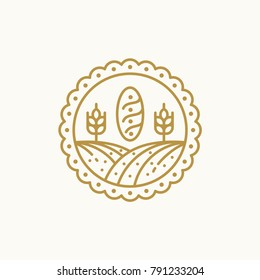 bakery logo template , bakery line art vector illustration