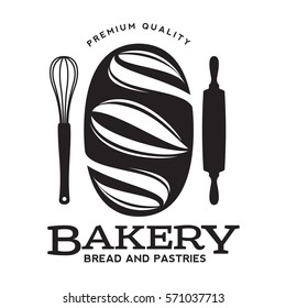 Bakery logo templates. Baker, grain, bread, cooking board. Vintage style badges and labels. Black and white logo templates for your design. Vector illustration isolated on white background.